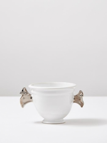 White Sculptural Vase with Platin #2