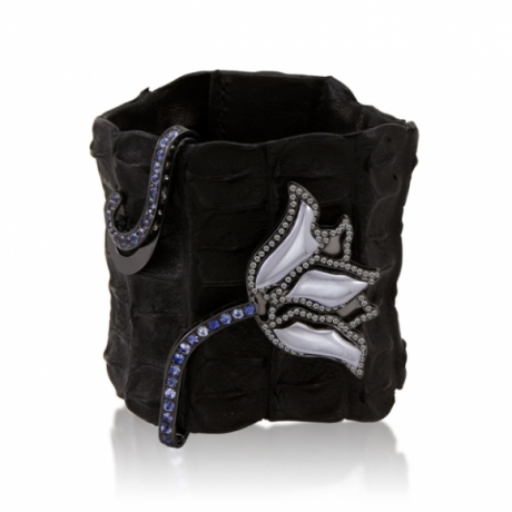 Crocodile Cuff with Black Hematite Tulip with Wrapped Stem