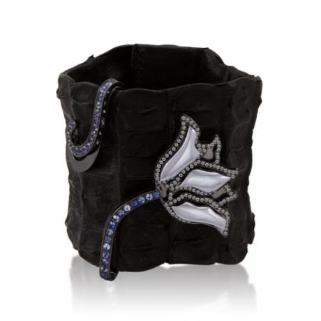 Crocodile Cuff with Black Hematite Tulip with Wrapped Stem