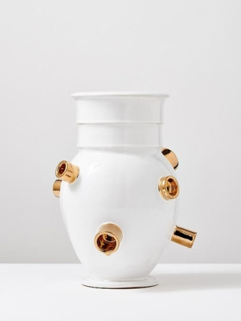 White Sculptural Vase with Gold #4