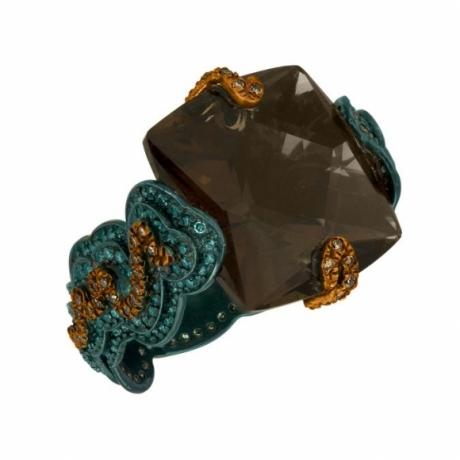 Zig Zag Ring (Orange & Blue Diamonds with Smokey Topaz)