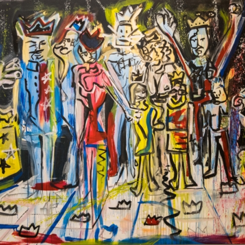Sanz painting of Royal Family at Smile at Hg Contemporary