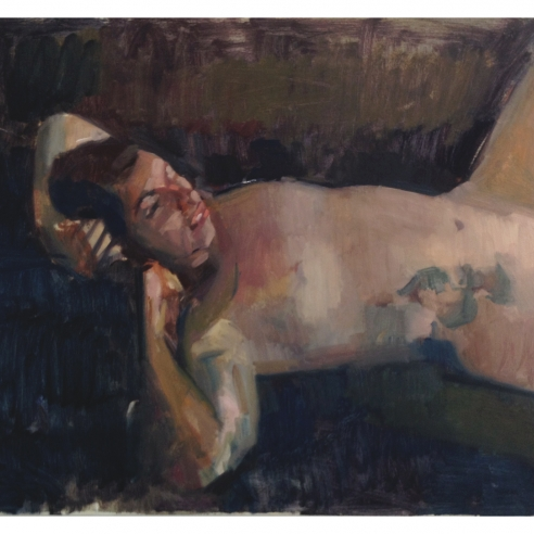 Nude on the Black Couch