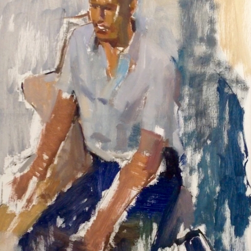 Young Man in a Blue Shirt