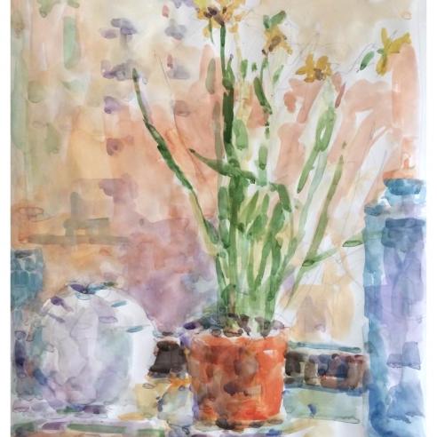 Window Sill with Daffodils