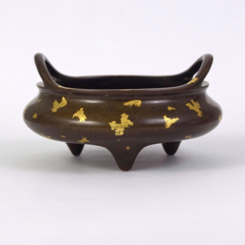 Chinese Gold-Splashed Bronze Tripod Censer