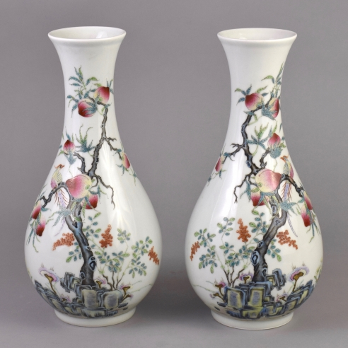 Pair of Famille Rose Tall-Necked Peach and Phoenix Vase