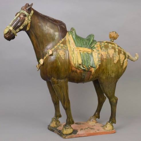 A Massive Caparisoned Sancai-Glazed Ferghana Horse