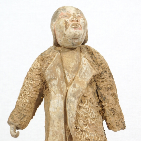 Standing Figure of a Foreigner Wearing a Camel Coat / Painted Gray Pottery