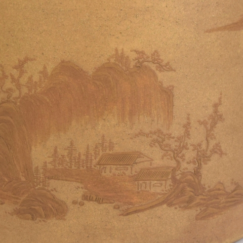 A Yixing Stoneware Slip-decorated Brush Pot