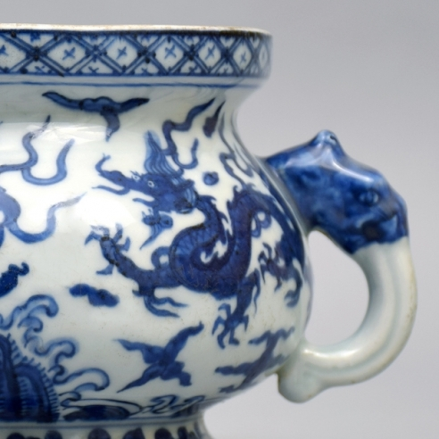 An Imperial Blue and White Two-Handled Bombe Censer