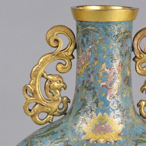 """Cloisonné Enamel """"Buddhist Symbol"""" Moon Flask"""