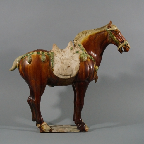 Large Sancai & Dark Ochre-Glazed Pottery Caparisoned Horse