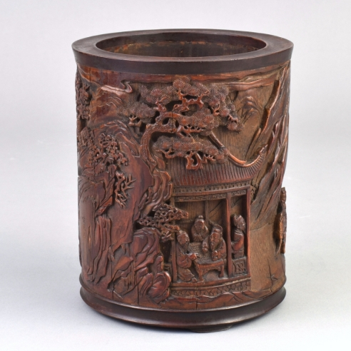 Hardwood-Mounted Bamboo Brush Pot