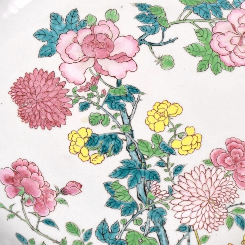 A Large 'Augustus the Strong' Famille-Rose Deep Circular Peony, Chrysanthemum & Roses Dish