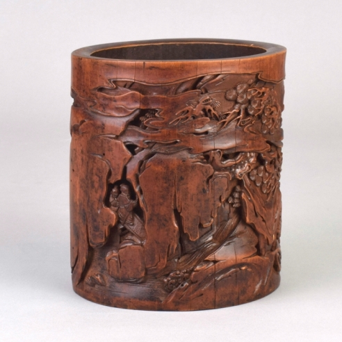 Inscribed Bamboo Brush Pot