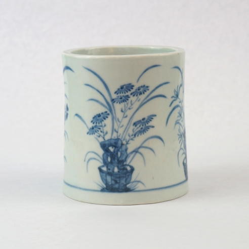 Rare Underglaze-Blue Decorated Brush Pot