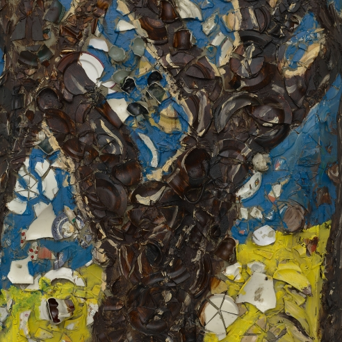 Plate painting of trees by Julian Schnabel