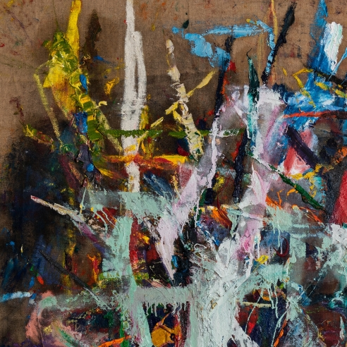 Untitled acrylic, oil, enamel on jute painting by artist Spencer Lewis