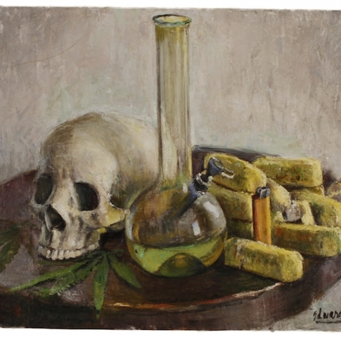Oil on canvas painting of a bong, Twinkies and a skull by Jesse Edwards