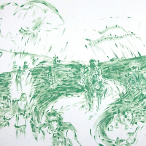 Green and white oil on canvas painting of figures in a landscape by Laurie Anderson
