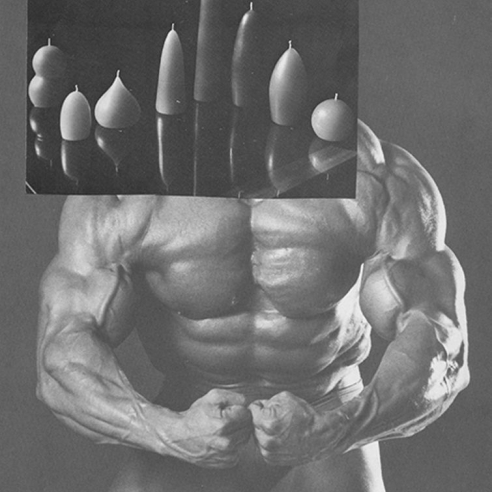 Ruby's Physicalism/The Recombine 2 (2006) is from a six-part series of collages of photographs of posing bodybuilders juxtaposed with candles.