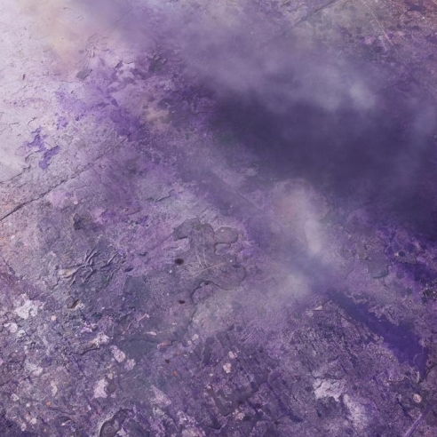 Purple mixed media on polyester painting by Julian Schnabel
