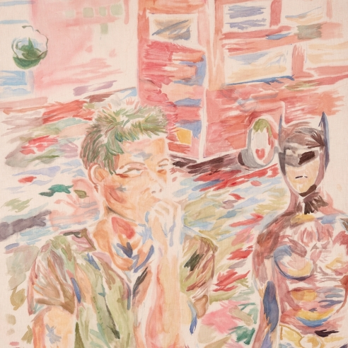 Watercolor on linen painting of a young man pondering and another figure dressed as Bat Man amid the Hollywood traffic by Gus Van Sant