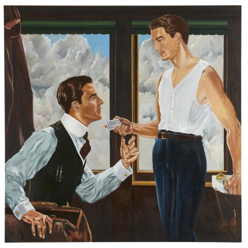 Oil on canvas painting of two men in a train car by McDermott & McGough