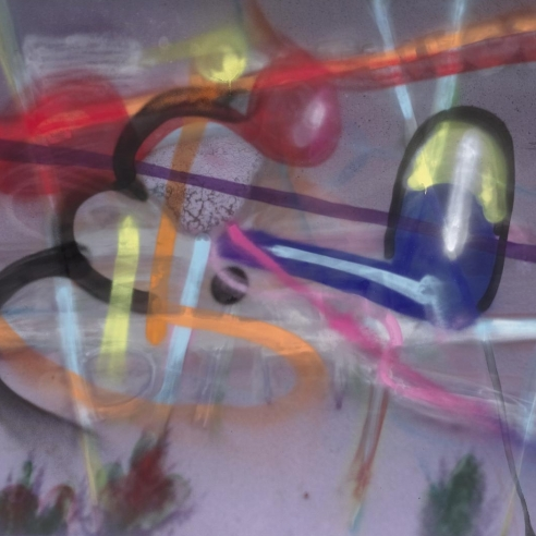 Spray paint and inkjet print on polyester by Julian Schnabel