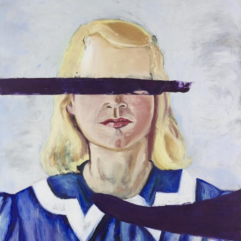 Oil and wax on canvas painting of a Large Girl with No Eyes by Julian Schnabel