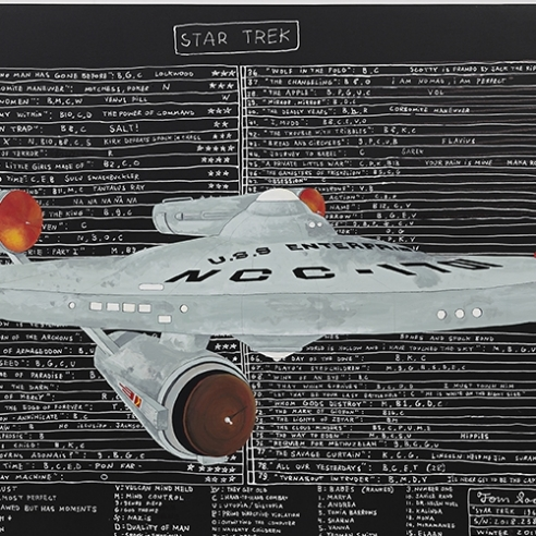 Painting of a spaceship atop data by Tom Sachs