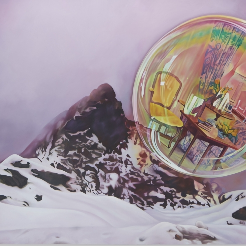 Oil on canvas painting of a bubble with an image of a living room floating atop a snow mountainside by Ariana Papademetropoulos