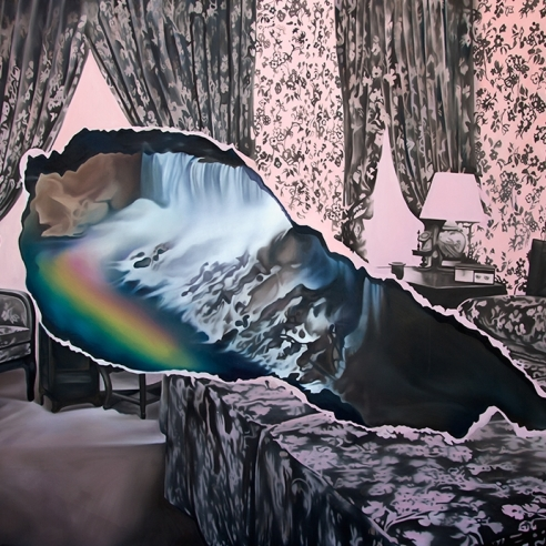 """Black and pink oil on canvas painting of a floral bedroom with a """"rip"""" in the center picturing a waterfall with a rainbow by Ariana Papademetropoulos"""