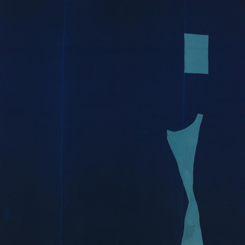 A blue abstract painting on velvet by Julian Schnabel