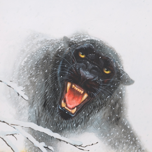Mixed media painting on paper of a black panther roaring at the viewer in the snowy Swiss Alps by Walton Ford