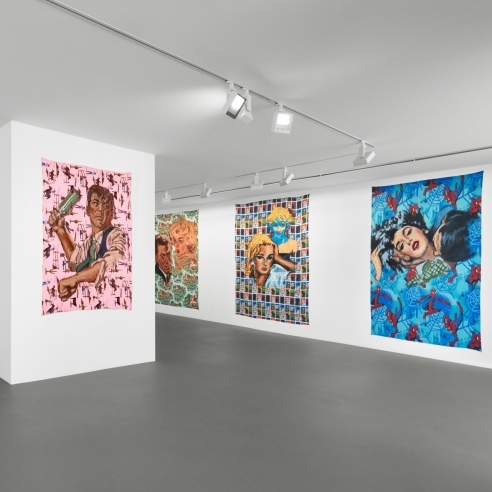 """Installation view of """"The Americans"""" by Walter Robinson"""