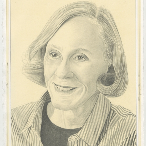 Portrait of Helen Pashgian, pencil on paper by Phong H. Bui.
