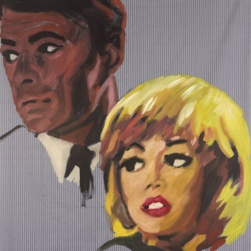 Acrylic on bedsheet painting of two pulp romance characters looking off into the distance by Walter Robinson