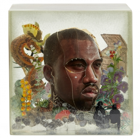 Mixed media collage of Kanye West by Dustin Yellin
