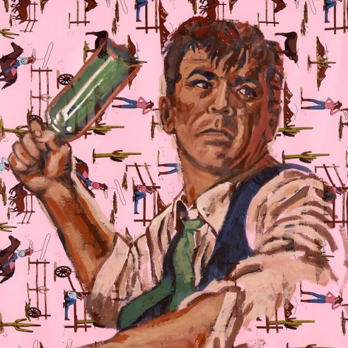 Acrylic on bedsheet painting of a man angrily holding a glass bottle as if to throw it by Walter Robinson