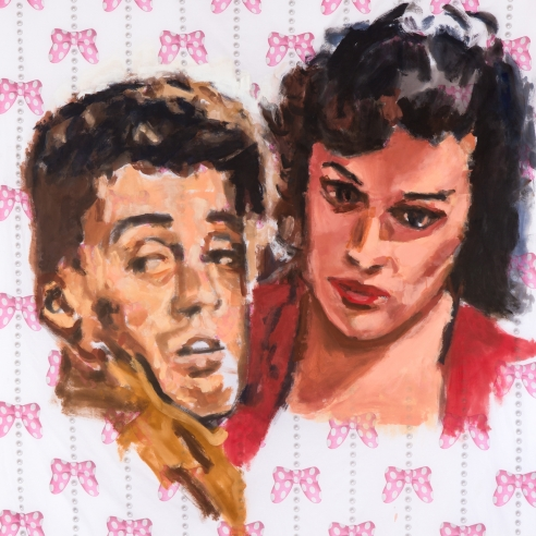 Acrylic on bedsheet painting of two pulp romance characters by Walter Robinson