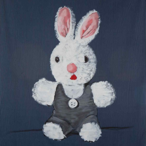 Acrylic on bedsheet painting of a bunny by Walter Robinson