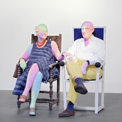 Mixed media sculpture of Bruno & Yoyo by Urs Fischer