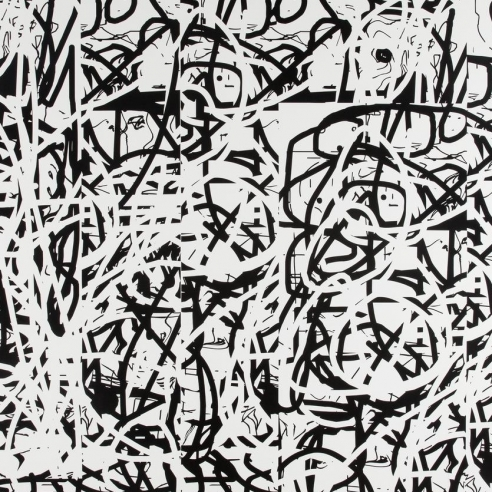 Black and white acrylic on canvas abstract painting by Jeff Elrod