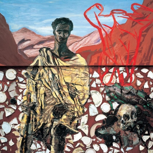 Plate painting of St. Francis by Julian Schnabel