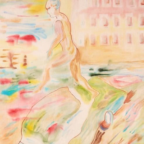 Watercolor on linen painting by Gus Van Sant