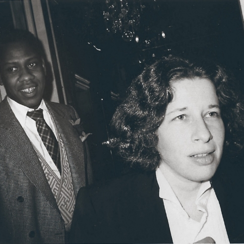 A black and white photograph of Andre Leon Talley and Fran Lebowitz in New York circa 1976 by Bob Colacello
