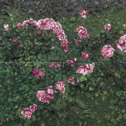 Rose plate painting by Julian Schnabel