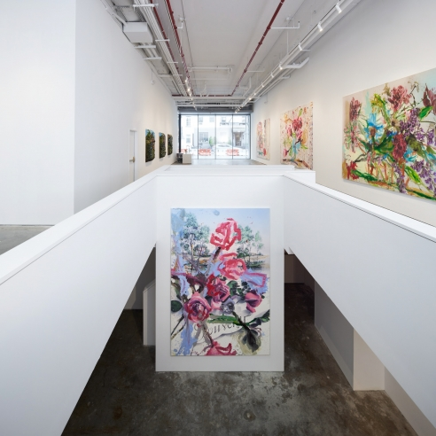 An installation view of Jorge Galindo and Julian Schnabel's exhibition Flower Paintings